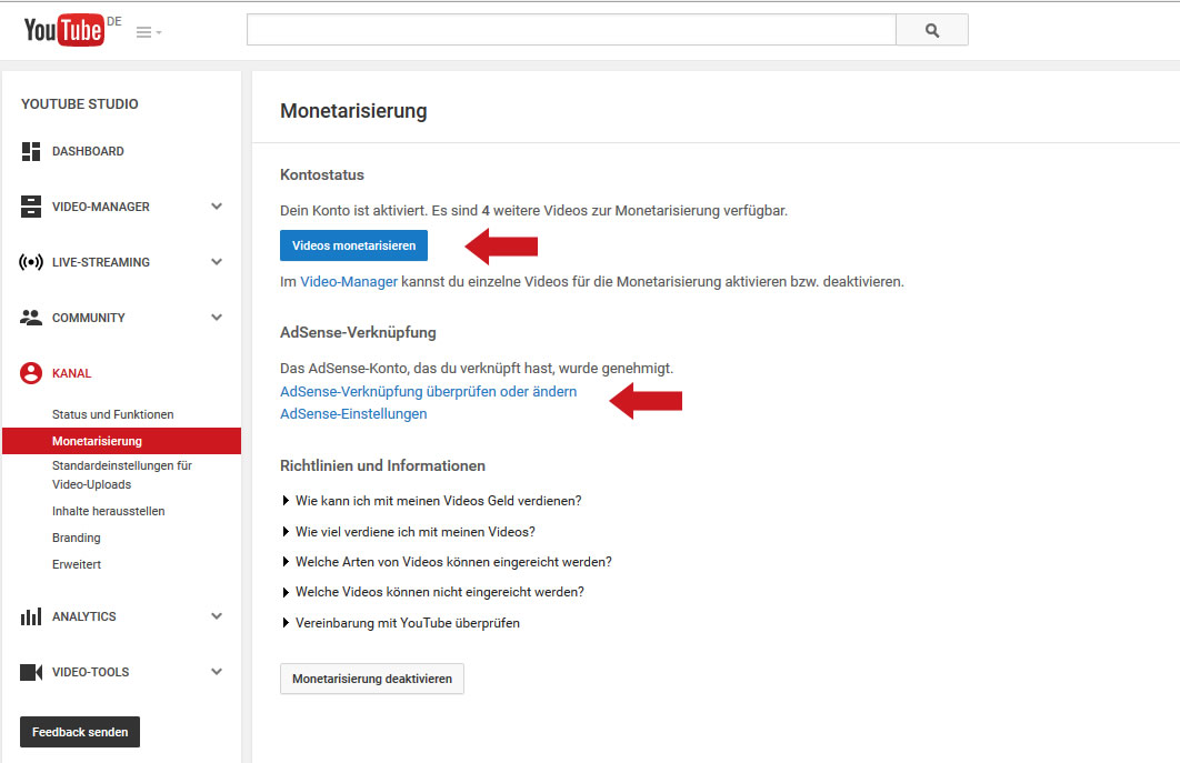 YouTube mit Google AdSense verbinden